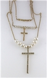 4030882 Christian Cross Necklace Faux Pearls Beads CZ Stones 3 Piece Staggering