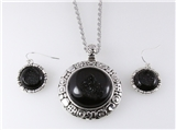 4030895 Black Drusy Quartz Look Necklace and Earring Set Designer Inspired
