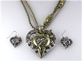 4030896 Bleeding Heart Sword Necklace and Earring Set Love Power
