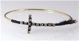 4030903 Cross Bangel Bracelet with Thread Woven Christian Fashion