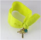 4030916 Stretch Hair Tie Cloth Fabric Cross Christian Bracelet Trendy Fashion...