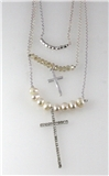4030935 Faux Pearl & Cross 3 Piece Triple Necklace Silver Tone Beads Christia...