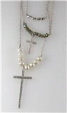 4030936 Faux Pearl & Cross 3 Piece Triple Necklace Silver Tone Beads Christia...