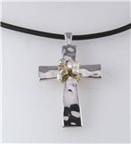 4030937 Beautiful Cross and Faux Pearl Necklace & Earring Set Christian Jesus...