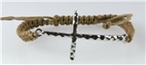 4030994 Silver Cross Brown Macrame Weave Adjustable Bracelet Christian Religi...