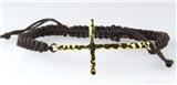 4030996 Gold Cross Black Macrame Weave Adjustable Bracelet Christian Religiou...