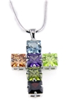 4031003 Multi Color CZ Stones Crystals Cross Necklace Rainbow Christian Fashi...