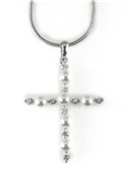 4031007 Simulated Pearl Cross Necklace Christian Fashion High Quality Religious