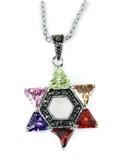 4031009 Multi Color CZ Stones Crystals Star of David Necklace Rainbow Christi...