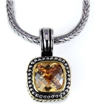 4031027 Champagne Cognac Brilliant CZ Stone 2 Tone Necklace...