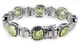 4031029 Very High Quality Olive GreenTennis Bracelet CZ Fashion 2 Tone