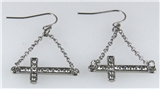 4031058 Sideways Cross Dangle Earrings Christian Fashion Laying Down Side Ways