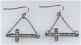 4031058 Sideways Cross Dangle Earrings Christian Fashion Laying Down Side Ways