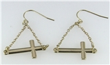 4031059 Sideways Cross Dangle Earrings Christian Fashion Laying Down Side Ways