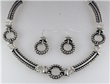 4031060 Designer Inspired Fashion Necklace & Earring Set Rope Style Rhodium P...