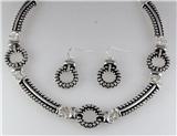 4031060 Designer Inspired Fashion Necklace & Earring Set Rope Style Rhodium P...