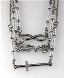 4031073 Cross Love Eternity Combination 3 Chain Necklace Pendant Christian Th...