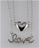 4031083 LOVE & Heart Nesting 2 Piece Necklace Set Rhinestones Valentines Gift