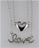 4031083 LOVE & Heart Nesting 2 Piece Necklace Set Rhinestones Valentines Gift