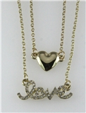 4031084 LOVE & Heart Nesting 2 Piece Necklace Set Rhinestones Valentines Gift