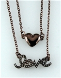 4031085 LOVE & Heart Nesting 2 Piece Necklace Set Rhinestones Valentines Gift