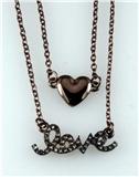 4031085 LOVE & Heart Nesting 2 Piece Necklace Set Rhinestones Valentines Gift