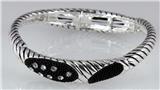 4031094 Designer Inspired Fashion Stretch Bracelet Rope Style Black & Polishe...
