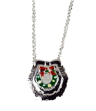 4031104 Christmas Necklace & Brooch Combo Wreath 18 Inch Chain Holiday