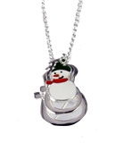 4031105 Christmas Necklace & Brooch Combo Snowman 18 Inch Chain Holiday