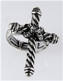 4031117 Rhodium Cross Stretch Ring Cubic Zirconia Rope Design Gothic Renaissa...