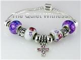 4031119 Pandora Style Love Cross Christian Bracelet Purple Flowers Silver Rel...