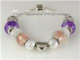 4031120 Pandora Style Love Mom Heart Bracelet Purple Flowers Silver Religious...