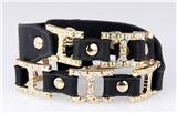 4031123 H Buckle Leather Wrap Bracelet CZ Stones Fashion Designer Look