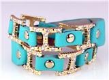 4031124 H Buckle Leather Wrap Bracelet CZ Stones Fashion Designer Look