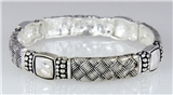 4031130 Designer Fashion Silver and Black Braided Rope Style Stretch Bracelet