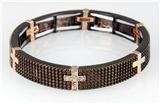 4031159 Cross Stretch Bracelet Christian Fashion Super Bling Chocolate Ice Ho...