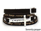 4031163 Serenity Prayer Leather Wrap Bracelet With Cross AA Al anon 12 Step