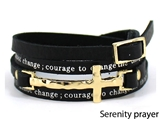 4031164 Serenity Prayer Leather Wrap Bracelet With Cross AA Al anon 12 Step