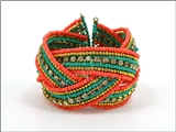4031194 Fashion Weave Bracelet Coral & Turquoise Hand Beaded Stunning