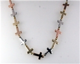 4031209 Cross Necklace 36 Inch Repeating Crosses 3 Colors Polished Silver Gol...