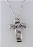 4031211 Faith Cross Necklace 16 Inch Chain with Extender Brushed Silver Chris...