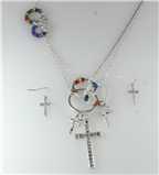 4031214 Beautiful CZ Stone Cross Necklace and Earring Set Decorative hand Wra...