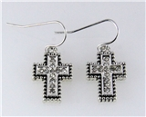 4031215 Cross Earrings with CZ Stones Beautiful Rhodium Silver Design Christi...