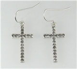 4031216 Cross Earrings with CZ Stones Beautiful Rhodium Silver Design Christi...