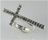 4031219 Beautiful Cross Stretch Ring Brilliant CZ Stones Christian Religious ...