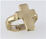 4031252 Matted Brushed Gold Cross Stretch Ring Christian Religious Jesus Fashion