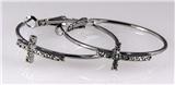 4031255 1 1/2 Inch Hoop Earrings With CZ Stone Cross Christian Faith Religiou...