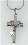 4031257 Cross & Heart Necklace Charm 16 Inch Chain w Extender Religious Chris...