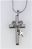 4031258 Cross & Heart Necklace Charm 16 Inch Chain w Extender Religious Chris...