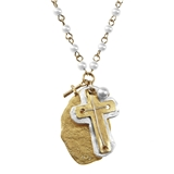 4031297 Ivory Glass Pearl Beads Cross Necklace Christian Fashion Jesus Religious